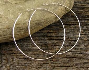 "5 Pr - Large Beading Hoops - Sterling Silver Earring Hoops - 40mm - 1- 5/8"" - 21 Gauge - E68"