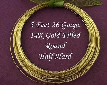 26 Gauge Gold Filled Wire - Round Half Hard 5 Ft - HH26GF5