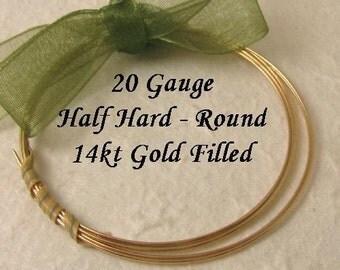 20 Gauge Gold Filled Wire -  14kt GF Half Hard Round -   10 ft HH20GF10