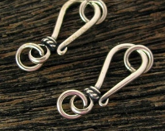 Sterling Silver Hook and Eye Clasps - 2 Classic Bali Closures 18mm  T37