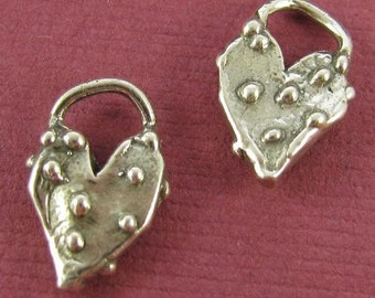 2 Rustic Charms - Sterling Silver Dotted Heart Charms -  13.65mm Tall  AC163