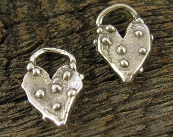 2 Sterling Silver Artisan Heart Charms - Dotted   AC163