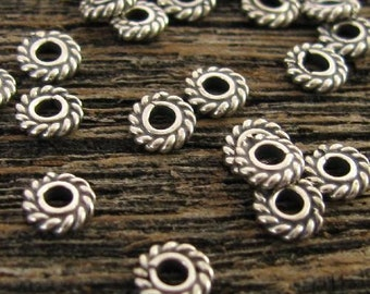 Sterling Silver Spacer Beads -  Oxidized Twisted Rope Edge -  5mm Flat Rondelles - 20 Heishi Beads  MB301