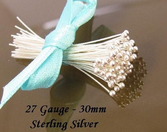 Sterling Silver Headpins  - Thin Beading Pins for Jewelry Making - Balled End 30mm Long - 100 Pcs  -27 Gauge  BH27-S30