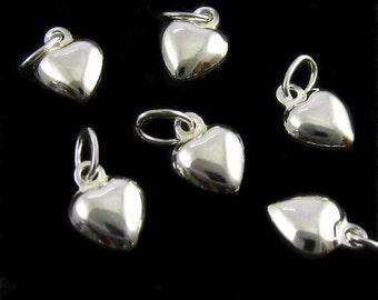 Sterling Silver Heart Charms - 10 Teeny Tiny Puffed Heart Drops  - 6.5mm C47a