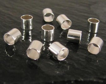 Sterling Silver Crimp Tube Beads - 10 pcs 4 x 4mm -  Crimps ID 3.5mm - CR16