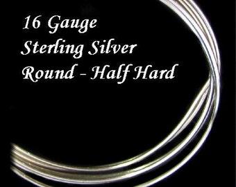 16 Gauge Sterling Silver Wire Round  Half Hard  5 Ft - HH16S5