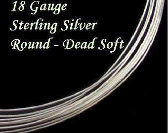18 Gauge Sterling Silver Wire- Round- Dead Soft- 2 Ft 18ga- SS Wire DS18S2