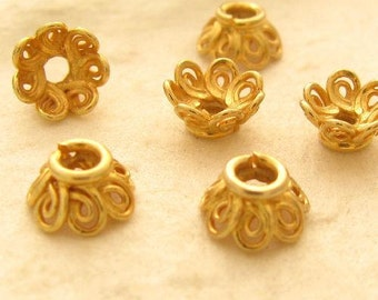 Vermeil Bead Caps with Loopy Scroll Designs - 6 Small Bead Caps - 6.5mm x 3.5mm  MB157