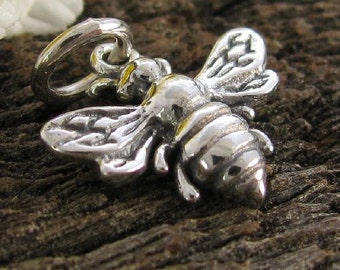 1 Honey Bee Charm or Pendant in Sterling Silver  C158