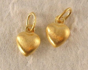 Vermeil Heart Charms Small Puffed Gold Heart Charms in Brushed Satin Finish  2 or 6 Hearts - Pick A Package size   - C47V ---