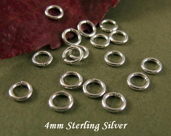 STERLING SILVER Jump Rings - 21 Gauge 4mm  Open 20 Pcs  - JR10