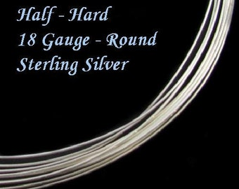 Sterling Silver Wire  18 Gauge Half Hard  Round 5 Feet  HH18S5