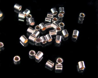 Sterling Silver Crimp Tube Beads - 1.5mm x 1.5mm - 100 Small Crimps CR19