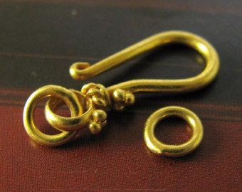 Vermeil  Gold Beaded Hook and Eye Clasp Sets- 2 Jewelry Clasp Sets -  T26V