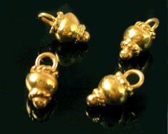 4 Vermeil Charms - Chunky Baubles- Little Dangles or Drops in 24kt Vermeil Gold- C136V