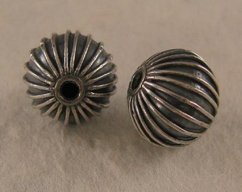 2 Large Round Segmented Sterling Silver Beads - 9mm - Oxidized MB30