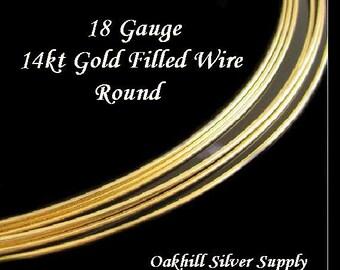 18 Gauge 14kt Gold Filled Wire - Half Hard - Round - 2 Ft - HH18GF2