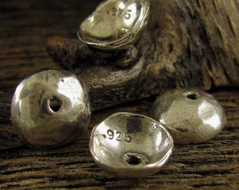4 Handcrafted Artisan Domed Bead Caps in Oxidized Sterling Silver 9.5mm MB198