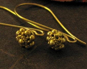 Gold Vermeil Earwires - Granulated Dotted End - -  3 Pair  E79a