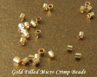 Gold Micro Crimps - 14kt Gold Filled Micro Crimp Tube Beads 1mm  - 100 Tiny Crimp Beads CR24