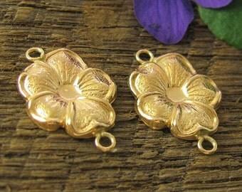 SALE  Gold Filled Flower Links - 2 16mm Floral Connectors L12