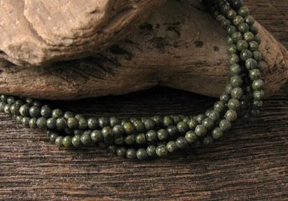4mm Russian Serpentine, Gemstone, Beads, 16 inch Strand - G15