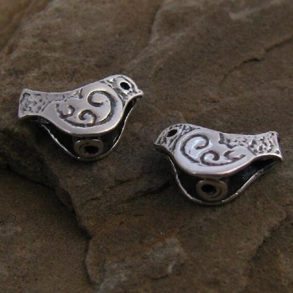 Sterling Silver Bird Beads - 2 Rustic Double Sided - Stamped and Oxidized  - C35a