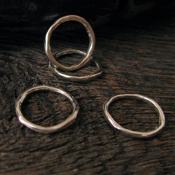STERLING SILVER Circle Links  - 4 Rustic Juneberry Rings Organic Twiggy Circle Links with Smooth Bark Texture - Medium 14mm, L92a