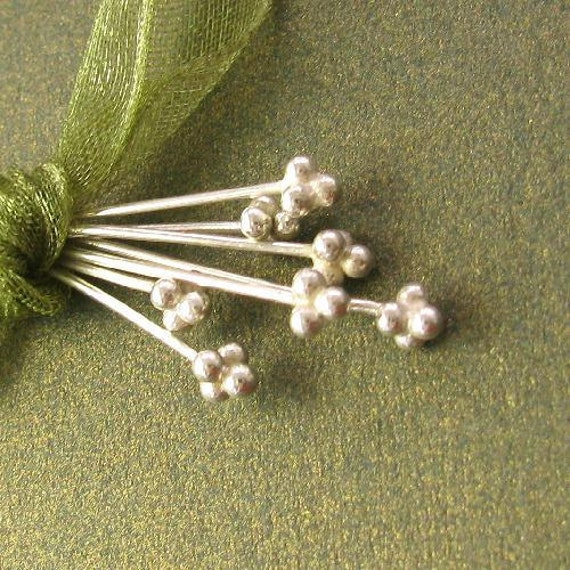6 Dotted End Head Pins in Shiny Sterling Silver  24 Gauge 78mm 3 inch Long  FHP-S21