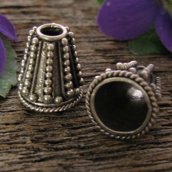 2 Vertical Granulated Beading Cones or Caps in Sterling Silver, 12mm, MB153