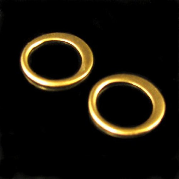 10 Pcs 24kt Vermeil Circle Links Round Connectors with Flared Hammered Edge  - Small Matte 9.5mm- L57Va