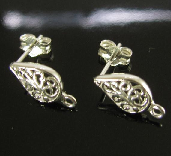 Sterling Silver Post Earrings - Fancy Filligree Teardrop Shape 1 Pair  E1