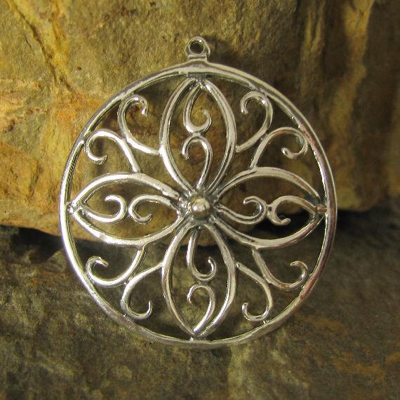 1 Large Sterling Silver Lace Work Charm or Chandelier - 1 Inch P56