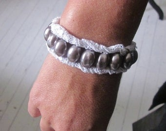 Charming silver grey pearls and braided antique French lace bracelet.