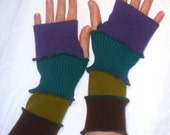One of a kind arm warmers fingerless gloves from recycled sweaters purple green teal by SpiralGypsy