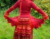 Fire Sprite - Custom Gypsy Pixie Bustle coat from recycled sweaters - RESERVED for Beth