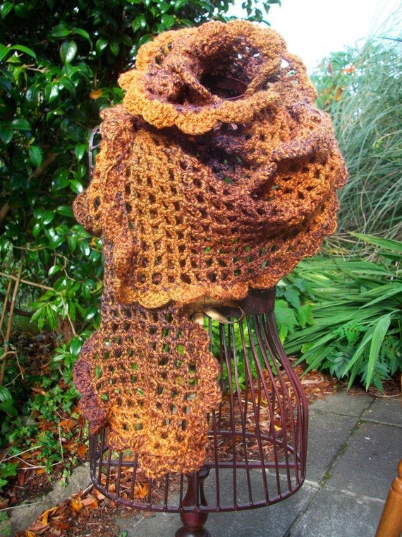 SALE - 40% off - Hand crocheted chunky scarf in Burnt Earth