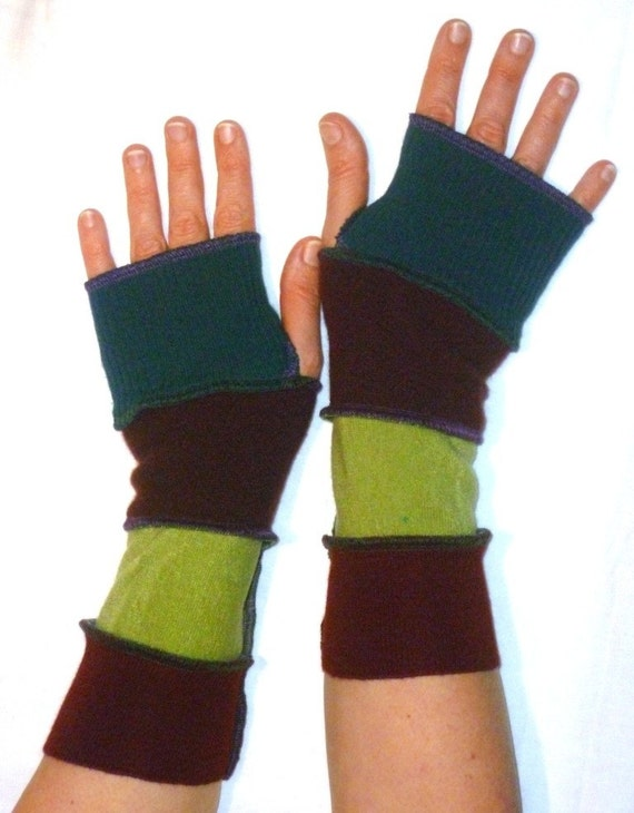 One of a kind arm warmers fingerless gloves from recycled sweaters teal burgundy lime green by SpiralGypsy