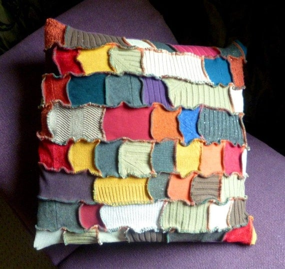Happy Scrappy Crazy Patchwork Cushion Cover multi coloured made from recycled sweaters by SpiralGypsy