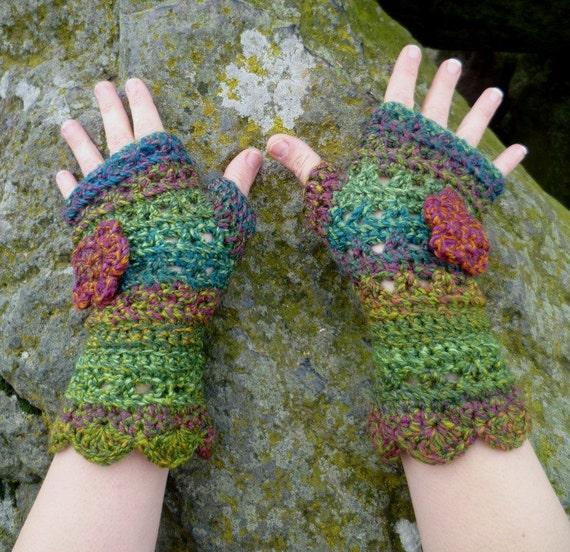 Hand crocheted Fingerless gloves in Mystic Moss