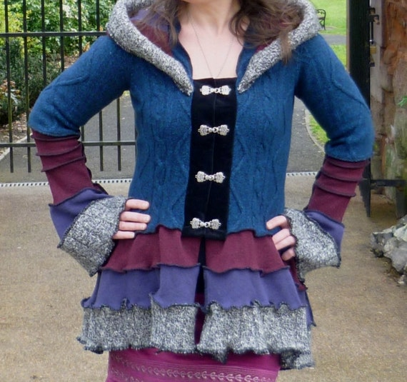 Vega  - Gypsy Vampire coat from recycled sweaters Size M  - RESERVED for Dani
