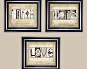 Alphabet Photo Art Set of (3) 8x10 FAiTH, HOPE, LOVE original fine art prints with Scripture, Christian Gift