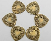 6 Heart Charm Pendants, Antique Gold Vintage Look Oxidized Brass, Ornate Detail, 23 x20mm