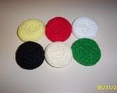 Crocheted nylon pot scrubbies