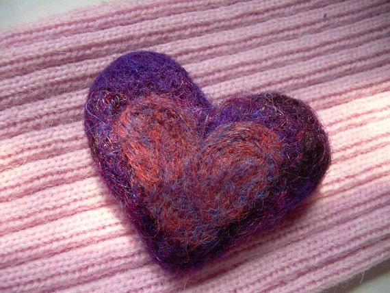 Purple Needle Felted Heart