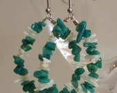 ON SALE  Teardrop earrings with turquoise chip beads and white stick beads