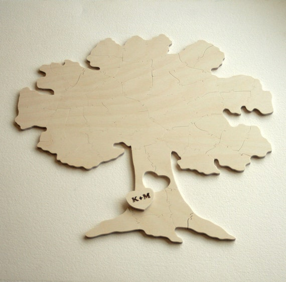 100 piece Alternative Guest Book Wedding Puzzle HEART TREE - your initials in the heart