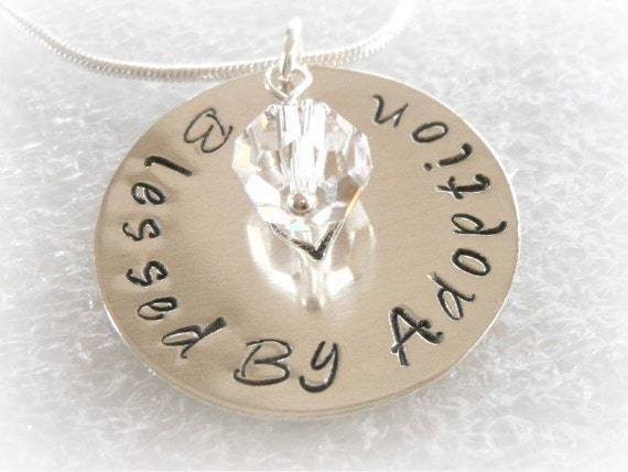 Blessed By Adoption - Hand Stamped Personalized Adoption Neckalce