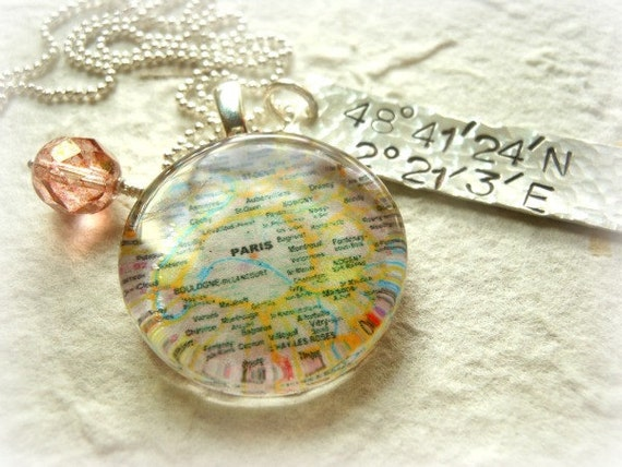 Customized Map Charm Neckalce and Hand Stamped Sterling Silver Latitude & Longitude Tag